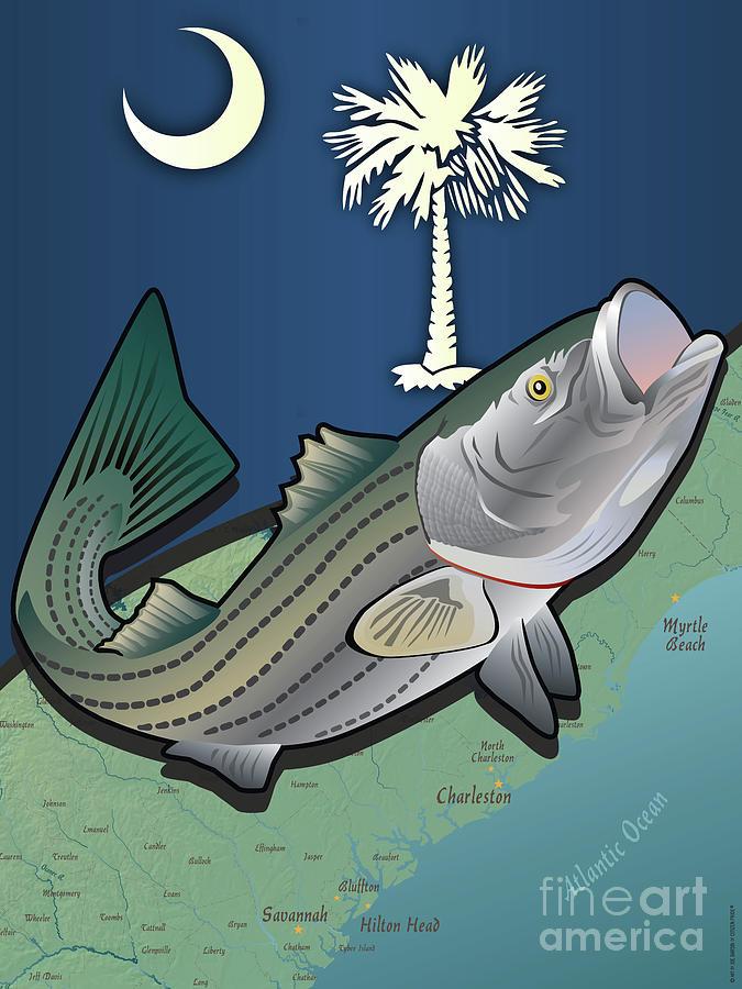 South Carolina Digital Art - South Carolina Striped Bass by Joe Barsin