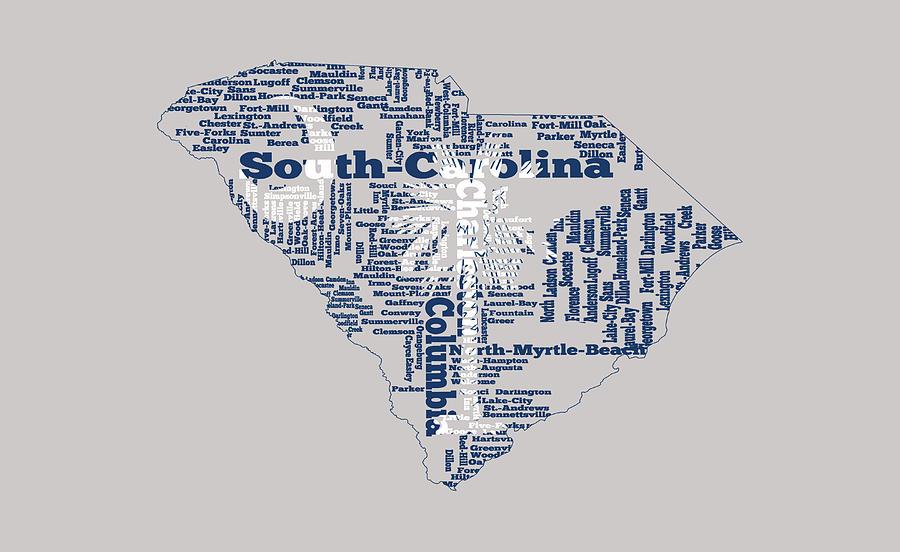 South Mixed Media - South Carolina Word Art 1a by Brian Reaves
