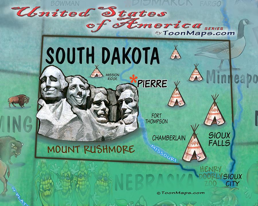South Dakota Fun Map Digital Art