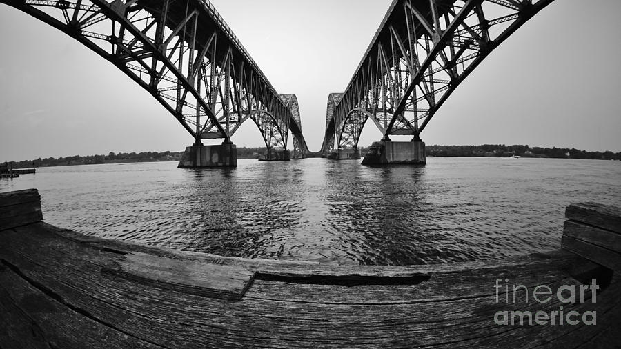 Wny Photograph - South Grand Island Bridge In Black And White by Tony Lee