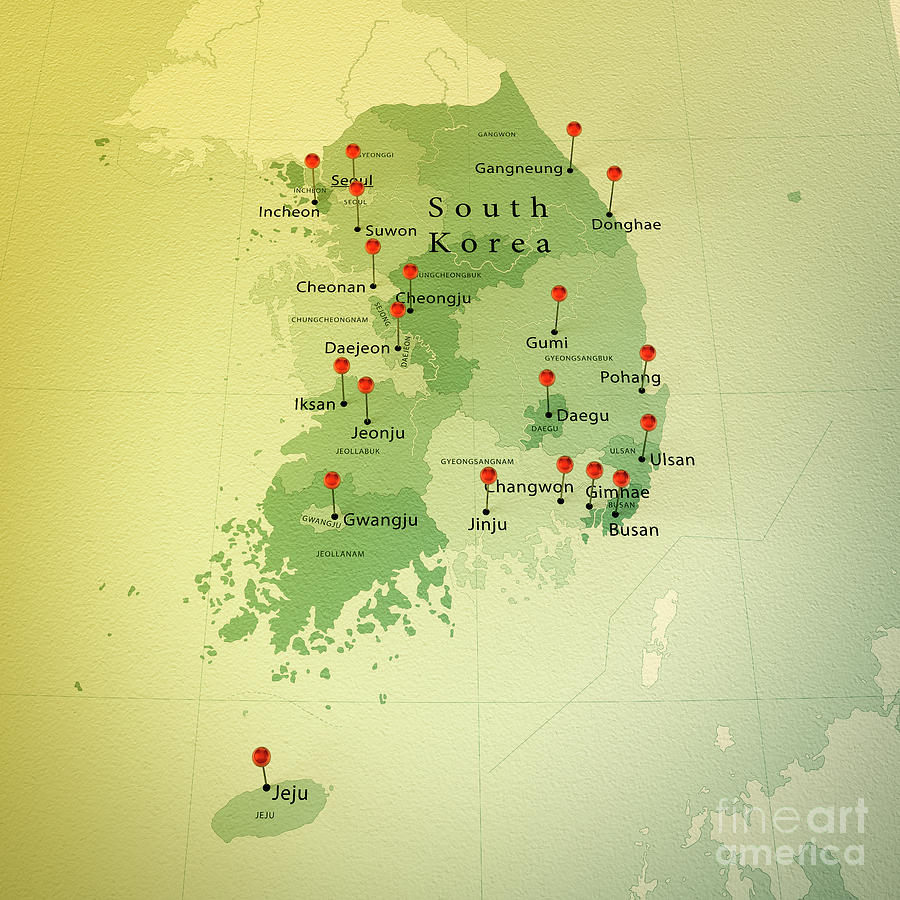 South Korea Map Square Cities Straight Pin Vintage Photograph by ...