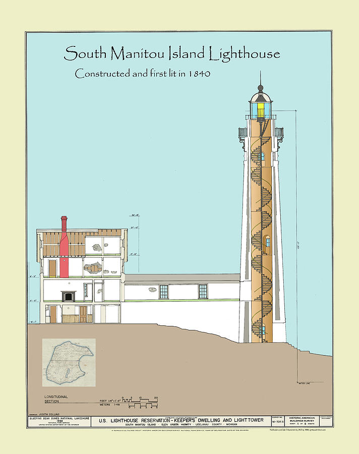 Michigan Drawing - South Manitou Island Lighthouse Color Drawing by Jerry McElroy
