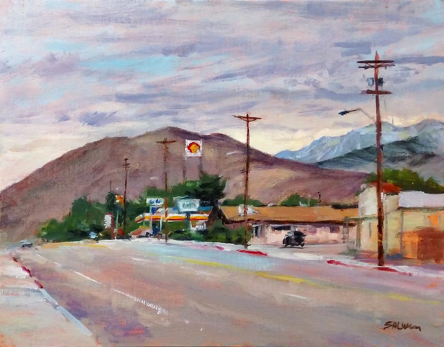 California Landscape Painting - South On Route 395, Big Pine, California by Peter Salwen
