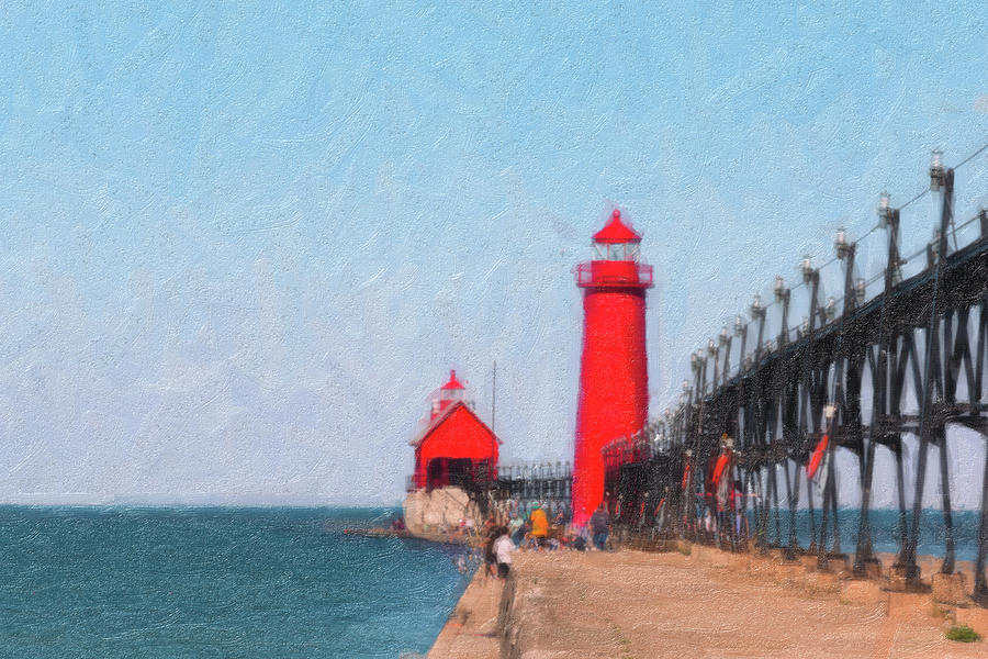 Michigan Photograph - South Pier Of Grand Haven by Tom Mc Nemar