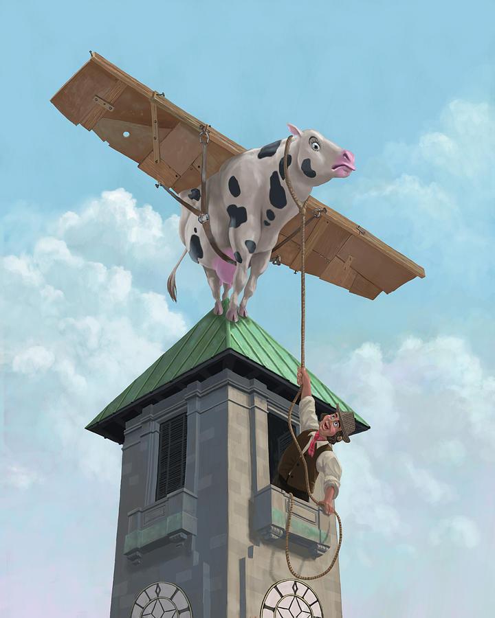 Cartoon Cow Painting - Southampton Cow Flight by Martin Davey