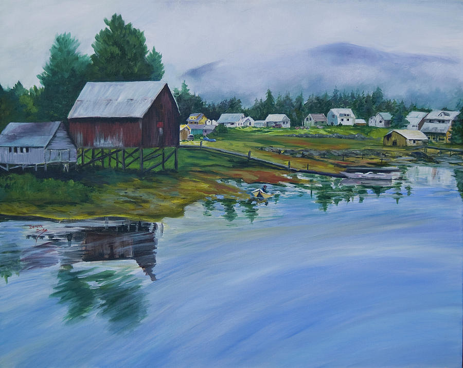 Fishing Village Painting - Southeast Alaska by Donna Drake