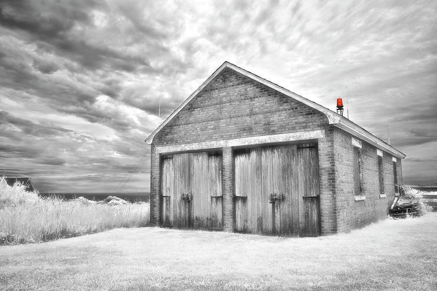 Block Island Photograph - Southeast Light Boathouse- Black And White by Luke Moore