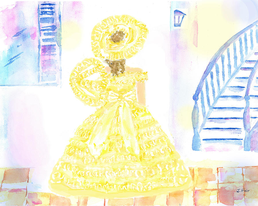 Southern Belle in Yellow Dress by Jerry Fair
