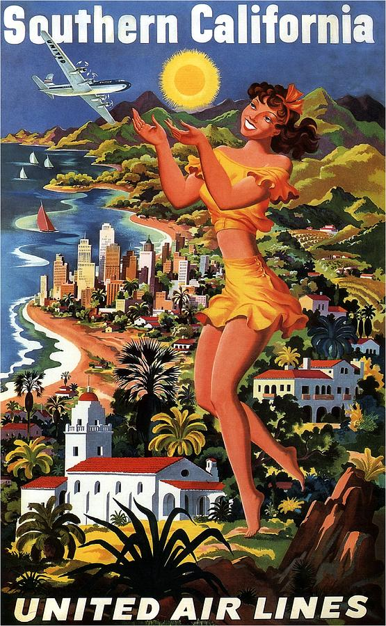 Vintage United Air Lines Yosemite Poster USACAN096 Art Print A4 A3 A2 A1