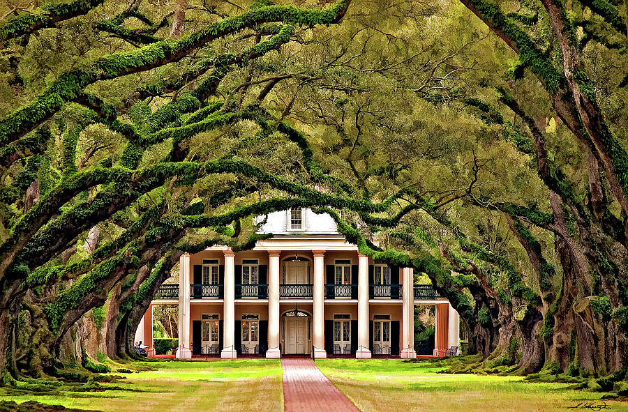 Oak Alley Plantation Photograph - Southern Class Painted by Steve Harrington