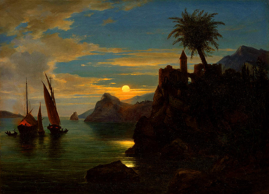 Moonlight Painting - Southern Coastal View By Moonlight by Georg Kobel