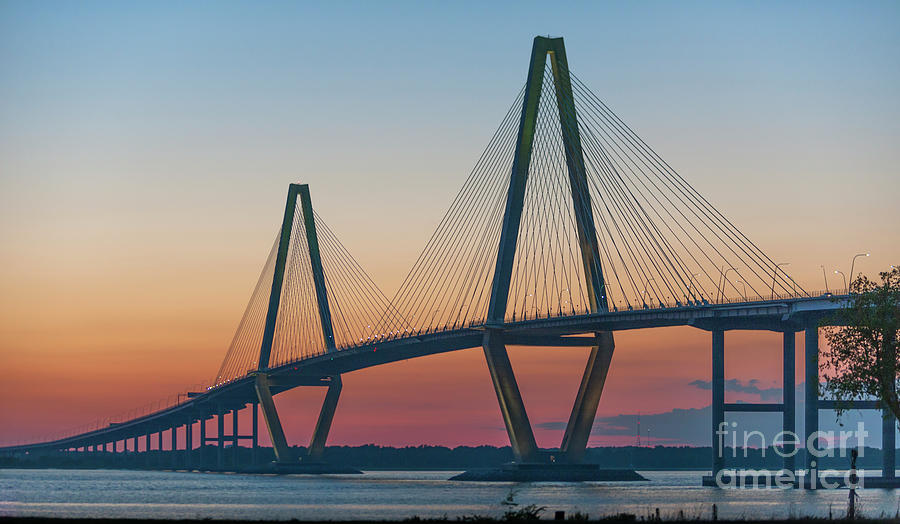 Arthur Ravenel Jr. Bridge Photograph - Southern Glow Over The Cooper by Dale Powell