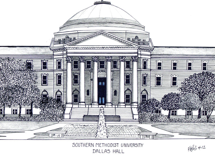 Pen And Ink Drawing Drawing - Southern Methodist University by Frederic Kohli
