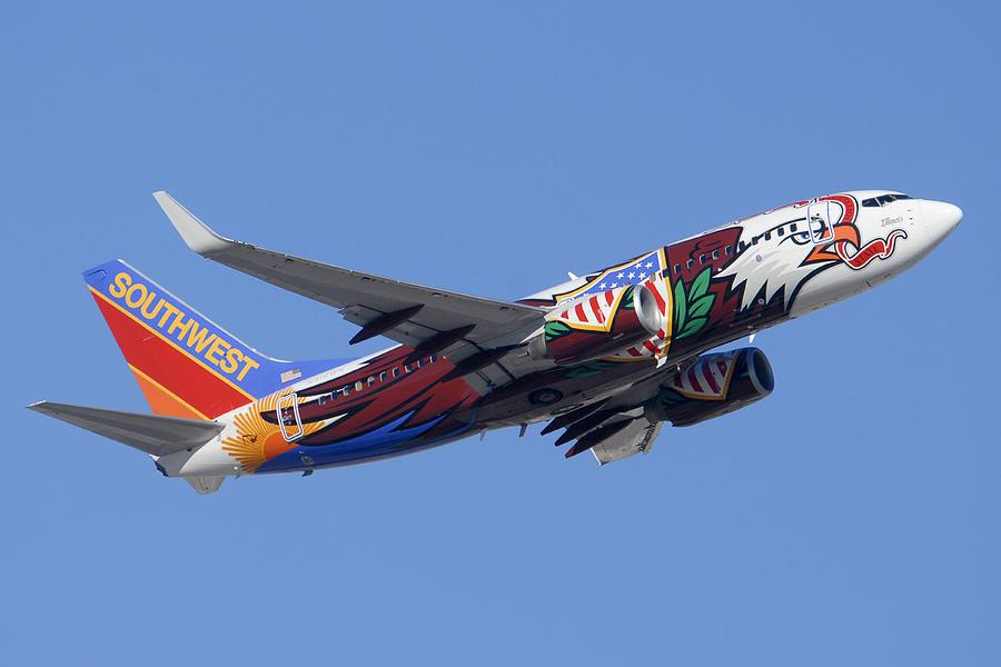 Airplane Photograph - Southwest 737 Illinois One At Phoenix Sky Harbor December 2 2010 by Brian Lockett