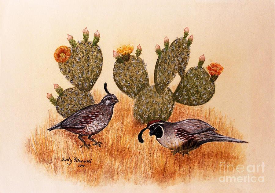 Desert Birds Painting - Southwest Art Gambels Quail by Judy Filarecki
