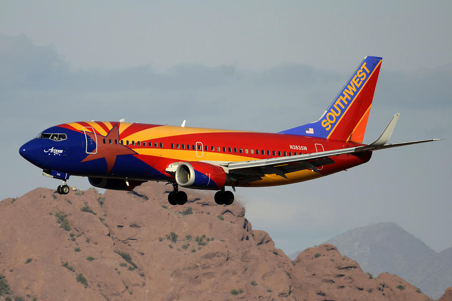 Airplane Photograph - Southwest Boeing 737-3h4 N383sw Arizona Phoenix Sky Harbor December 20 2015  by Brian Lockett