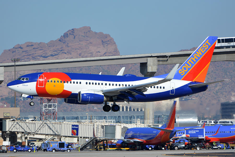 Airplane Photograph - Southwest Boeing 737-7h4 N230wn Colorado One Phoenix Sky Harbor January 24 2016 by Brian Lockett