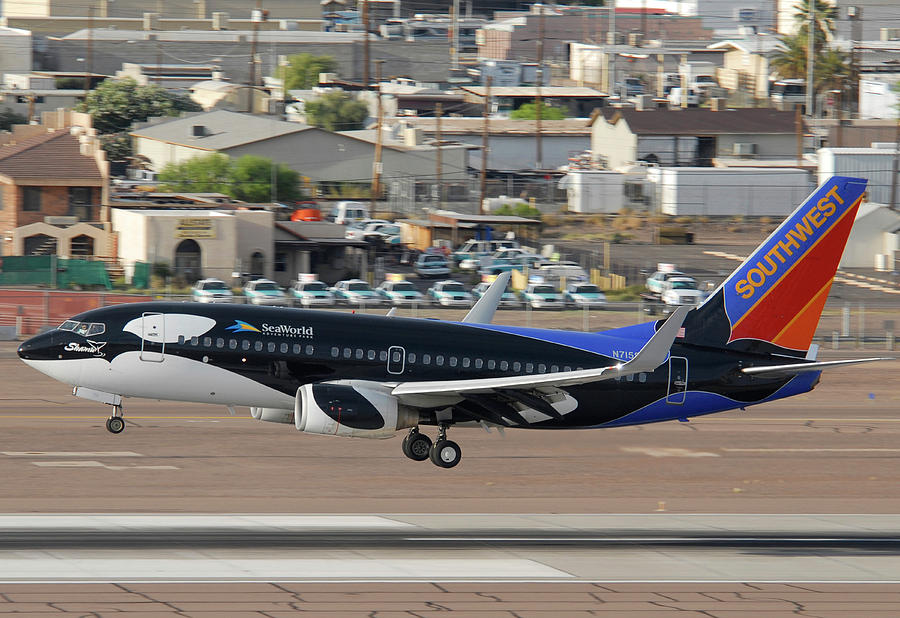 Airplane Photograph - Southwest Boeing 737-7h4 N715sw Shamu Landing Phoenix Sky Harbor April 5 2011 by Brian Lockett