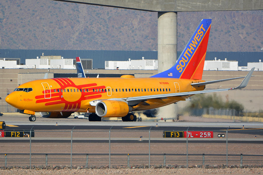 Airplane Photograph - Southwest Boeing 737-7h4 N781wn New Mexico Phoenix Sky Harbor January 17 2016 by Brian Lockett