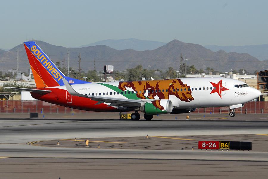 Southwest Boeing 737 California At Phoenix Sky Harbor November 10 2010 Photograph by Brian Lockett
