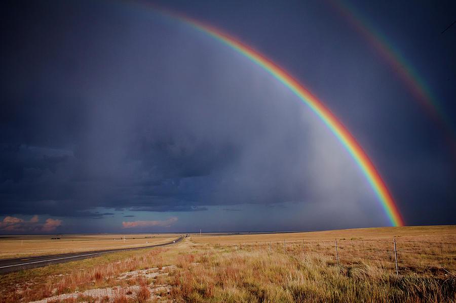 Rainbow Photograph - Southwest Double Rainbow by Steven Bateson