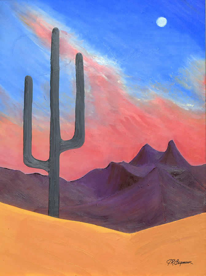 Cactus Painting - Southwest Scene by J R Seymour