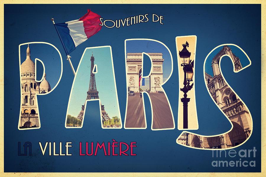 Paris Mixed Media - Souvernirs De Paris by Delphimages Photo Creations