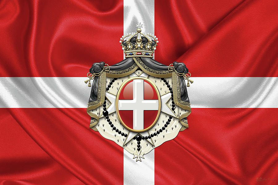 Sovereign Military Order of Malta - S M O M Coat of Arms over Flag by Serge Averbukh