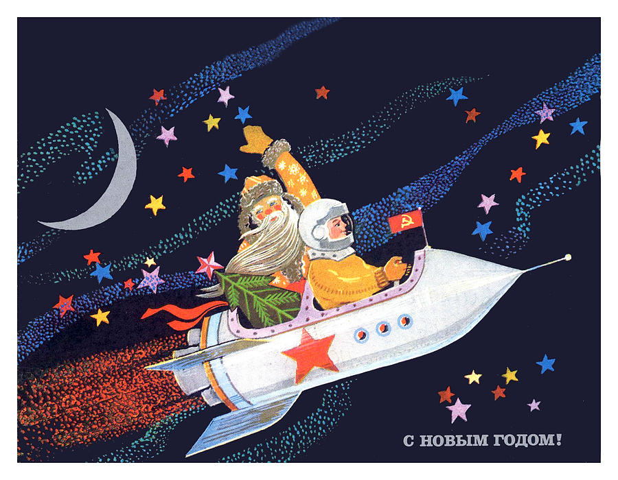 417c0c7e4a0 Rocket Painting - Soviet Astronaut Fly In Rocket Together With Santa by Long  Shot