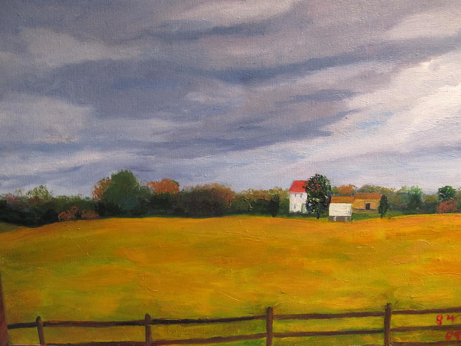 Soybean Painting - Soybean Field In Late Fall by Gloria Condon
