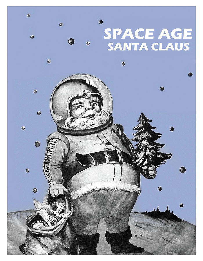 Space Age Mixed Media - Space Age Santa Claus by Long Shot