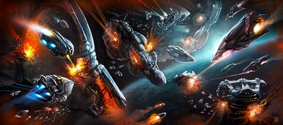 Scifi Digital Art - Space Battle by Odysseas Stamoglou