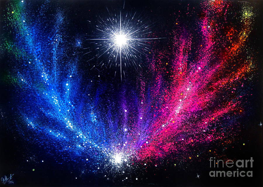space beauty blue pink galaxy non standard shape painting by sofia