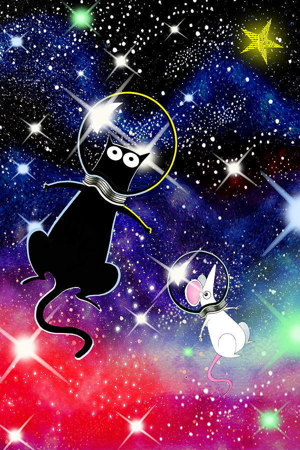 Space Mixed Media - Space Cat by Andrew Hitchen