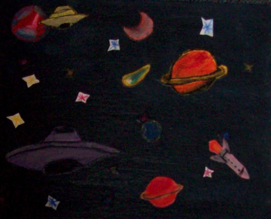 Ufo Painting - Space Collage by Merlin Strivelli