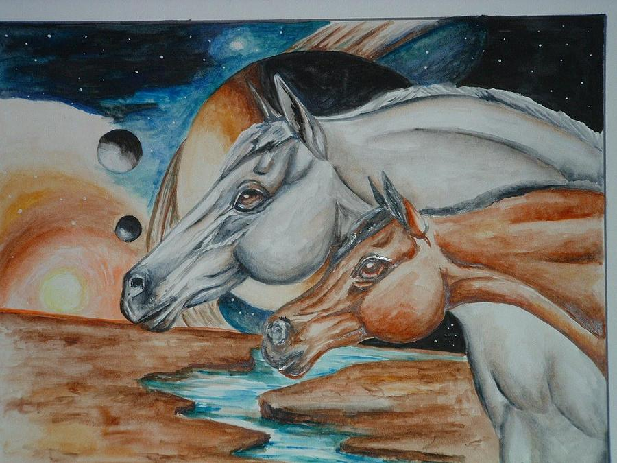 Horses Painting - Space Horses  by Andrea  Darlington