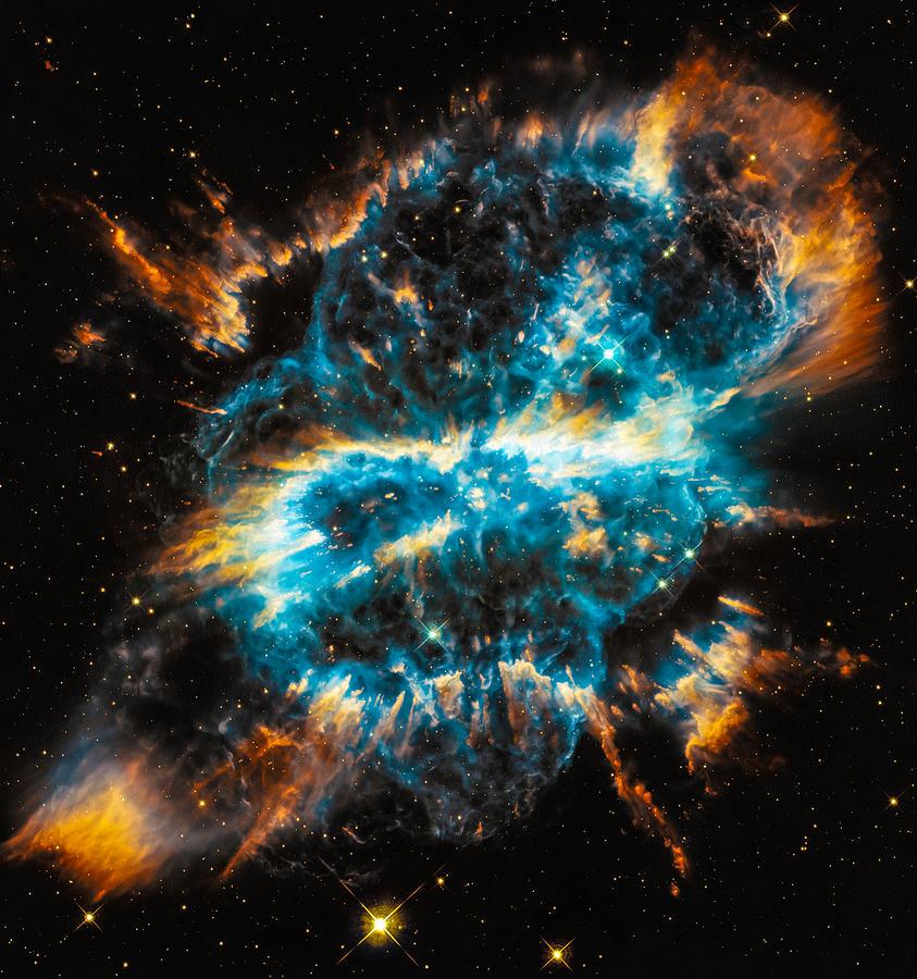 Space Image Blue And Orange Nebula Digital Art by Matthias ...