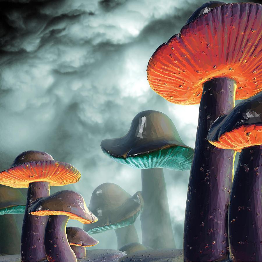 Space Mushrooms Digital Art