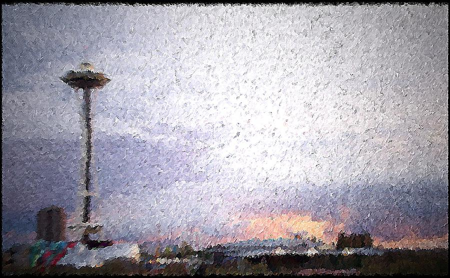 Seattle Mixed Media - Space Needle And Emp At Sunset by James Johnstone