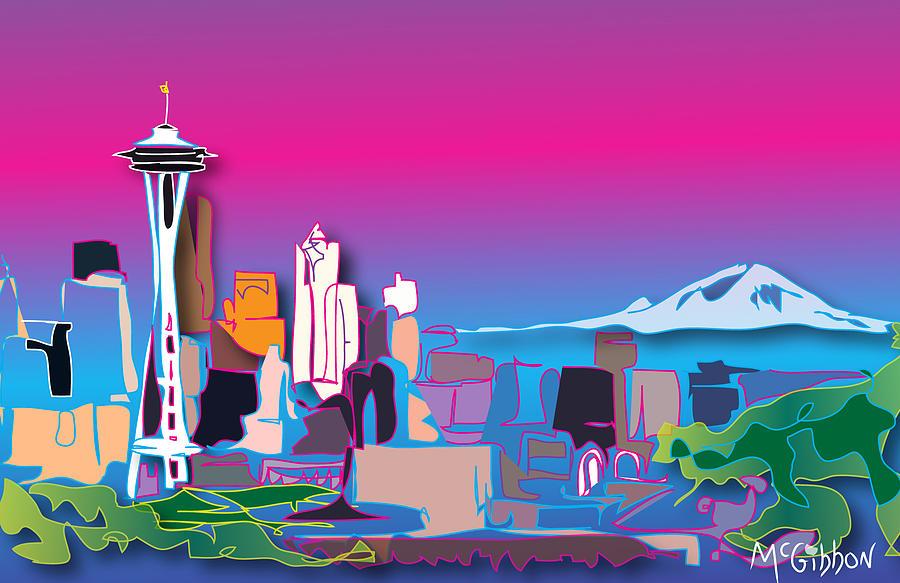 Seattle Digital Art - Space Needle by Dan McGibbon