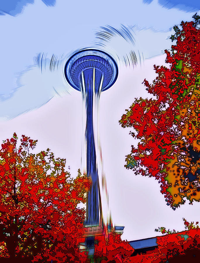 Space Needle Photograph - Space Needle Poster Art by Steve Ohlsen