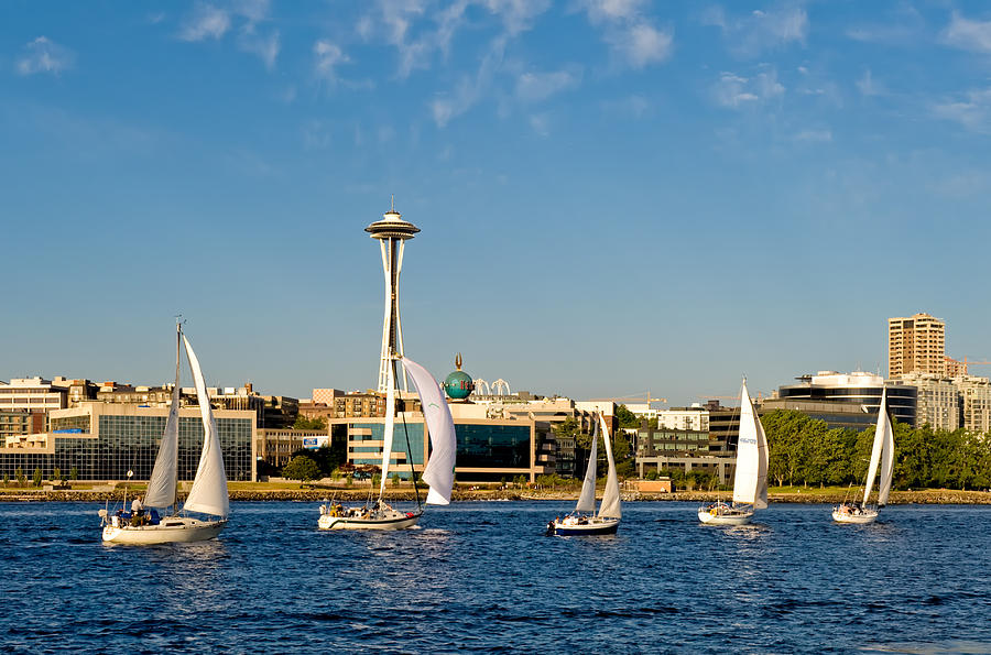 Seattle Photograph - Space Needle Sailboats by Tom Dowd