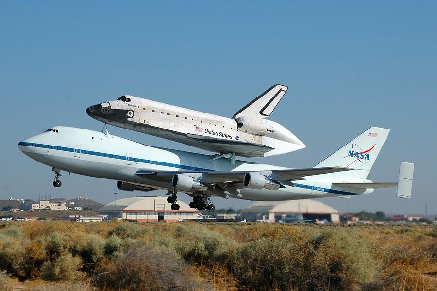 Space Photograph - Space Shuttle Discovery Departs Edwards Afb August 19 2005 by Brian Lockett