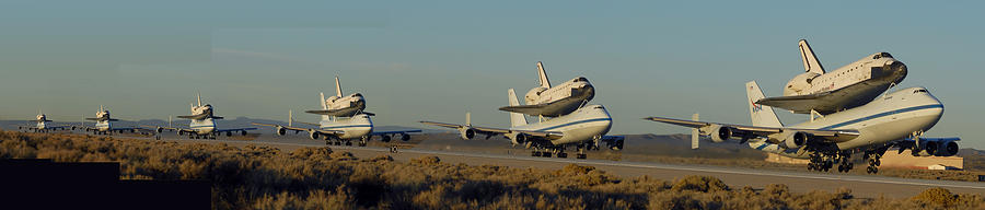 Space Photograph - Space Shuttle Endeavour Departs Edwards Afb December 10 2008 Multiple Exposure by Brian Lockett