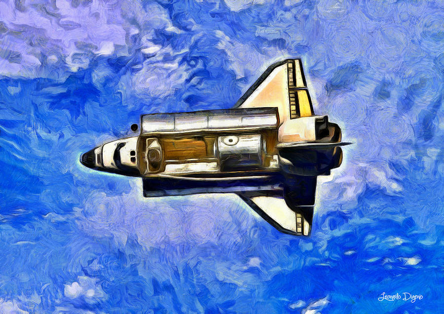 Orbit Digital Art - Space Shuttle In Space - Da by Leonardo Digenio
