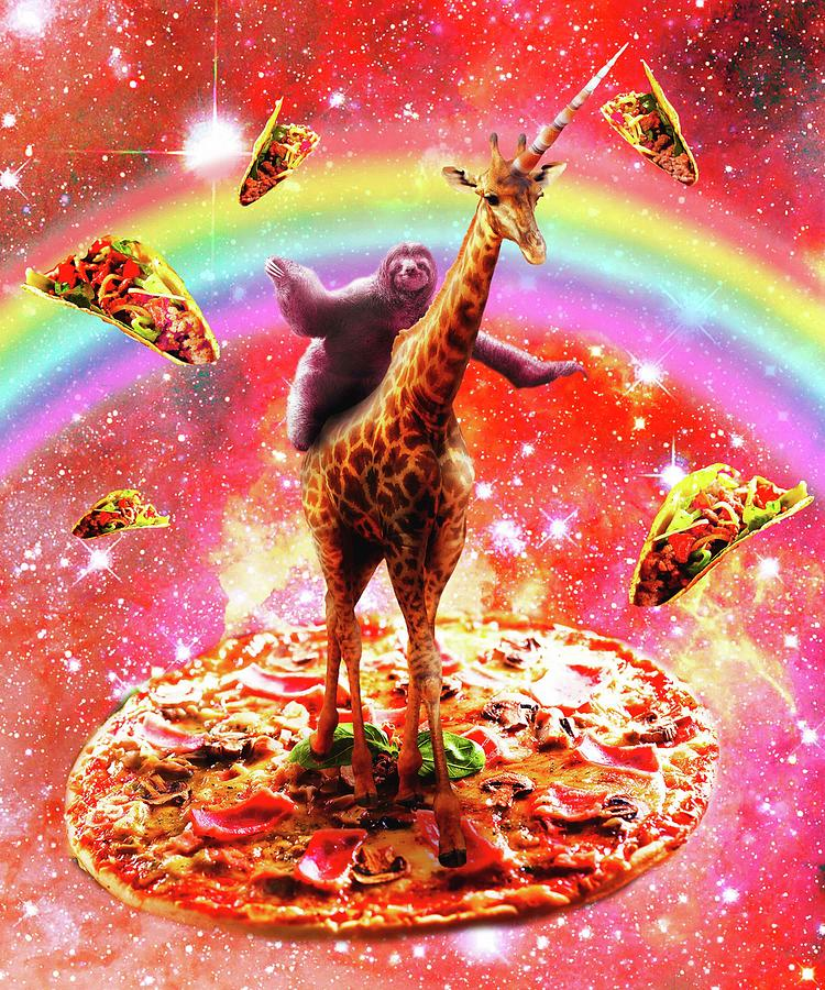Sloth Digital Art - Space Sloth Riding Giraffe Unicorn - Pizza And Taco by Random Galaxy