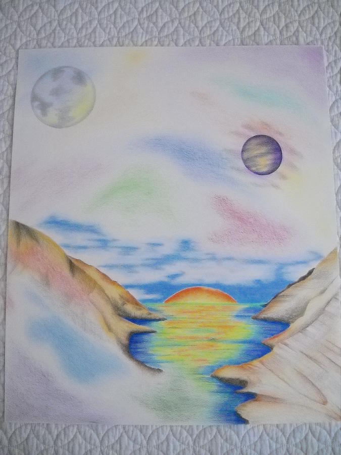 Landscape Drawing - Space World Abstract by Aimee Ley