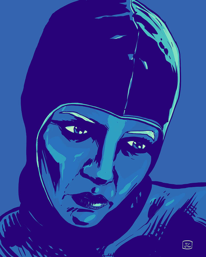 Portrait Drawing - Spaceman In Blue by Giuseppe Cristiano