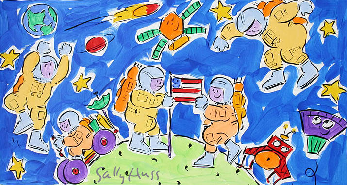 Space Painting - Spacemen Blue by Sally Huss