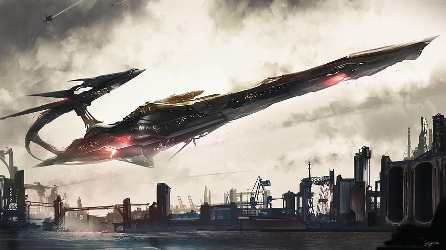Spaceship Digital Art - Spaceship by Dorothy Binder